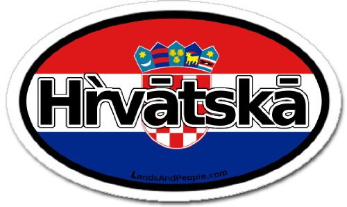 Croatia Hrvatska and Croatian Flag Car Bumper Sticker Decal Oval