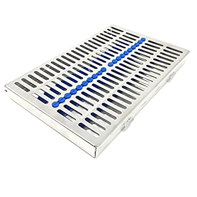 CYNAMED Dental Sterilization Cassette, Autoclave Tray, Rack, Box with Lock, 20-Instruments 'Blue'