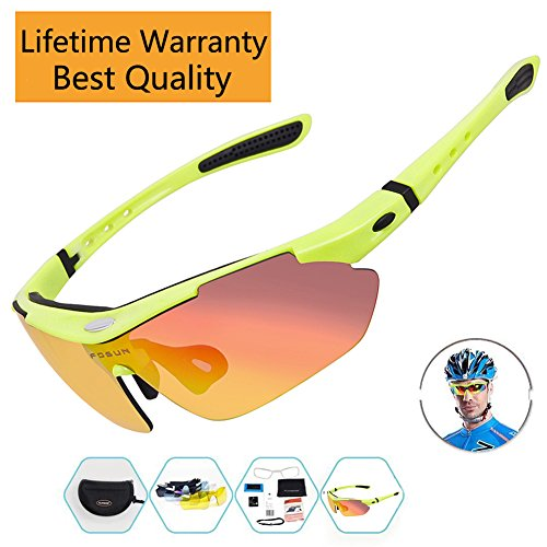 Sports Sunglasses For Men Women Cycling Glasses Polarized Baseball Running Fishing Driving Golf With 5 Interchangeable Lenses (Green, 5 - Bans Ray Ireland