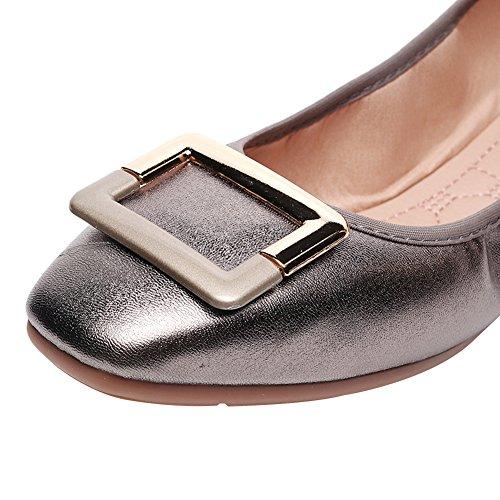 Zapato Bailarinas Rismart Hebilla Mujer Pistola Cuadrada Plano Zapatillas Color Ponerse H441Cxqa