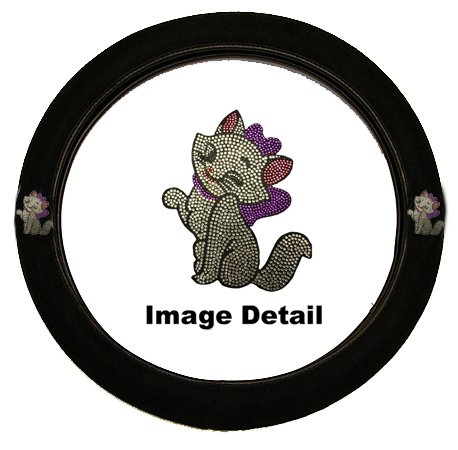 White Cute Kitty w/ Purple Bow Gem Crystal Studded Rhinestone Bling Car Truck SUV Steering Wheel Cover (Studded Steering Wheel compare prices)