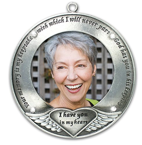BANBERRY DESIGNS I Thought of You with Love Today Brushed Metal Photo Ornament - Memorial Ornament Engraved with Your Memory Is My Keepsake - Loss of a Loved One - Bereavement Gift - In Loving Memory
