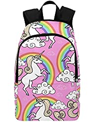 Unique Debora Custom Outdoor Shoulders Bag Fabric Backpack Multipurpose Daypacks for Unisex with Design Unicorn...