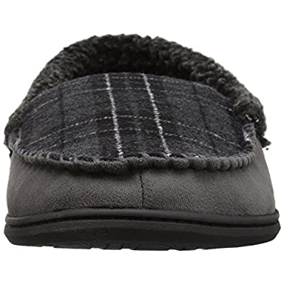 Dearfoams Men's Microsuede Moccasin with Whipstitch Wide Width Slipper | Slippers