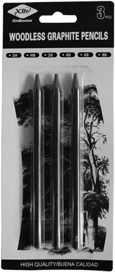 3 Pcs Pure Carbon Sketch Pens HB//2B//4B Woodless Charcoal Pencil Set Drawing Tool