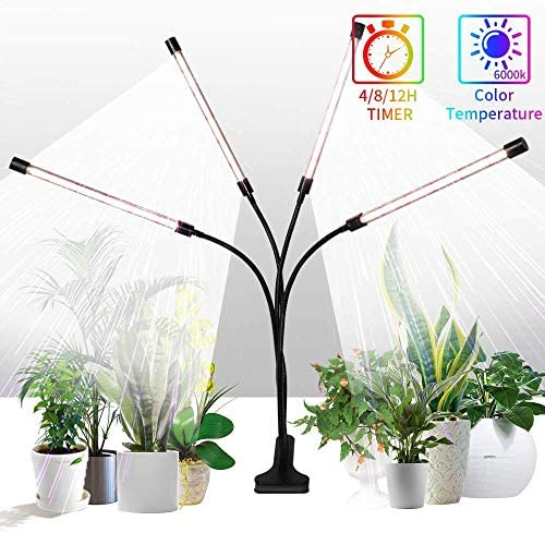 Grow Lights Sunlight White,GHodec 168LED 100W Four-Head Plant Lights,Growing Lamps for Indoor Plant,5 Dimmable Levels 4 8 12H Timer