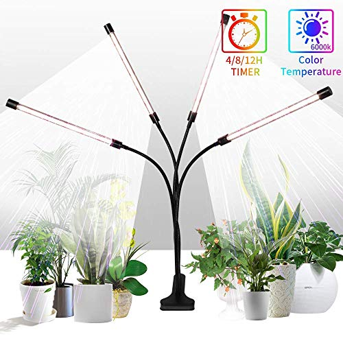 Grow Lights Sunlight White,GHodec 168LED 100W Four-Head Plant Lights,Growing Lamps for Indoor Plant,5 Dimmable Levels & 4/8/12H Timer