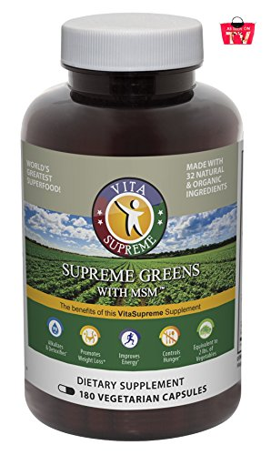 Cheap Supreme Greens with MSM Capsules (180 Capsules): The Original Green Superfood (Over 1 Million Sold), 39 Vegetables, Herbs, Grasses & Sprouts, Made in USA