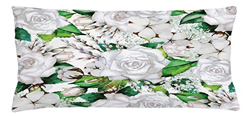 Rose Throw Pillow Cushion Cover by Lunarable, Watercolor Artsy Design of Roses Meaning New Beginning or Farewell Innocence Symbol, Decorative Square Accent Pillow Case, 36 X 16 Inches, White Green