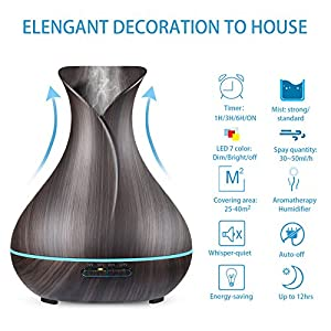 NexGadget 400ml BPA Free Ultrasonic Aromatherapy Essential Oil Diffuser - Cool Mist Humidifier for Home,Office,Spa&More - Wood Grain
