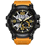 Mens Large Dual Dial Analog Digital Watch Casual Sport Watch Multifunction Military Watch with LED Light (Orange)