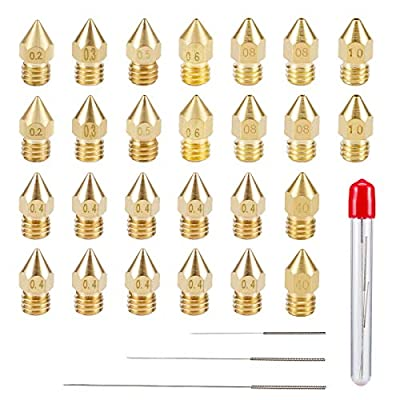 Cosweet 27pcs 3D Printer Nozzles and Cleaning Kit -24pcs MK8 Brass Printer Extruder Nozzles (0.2mm,0.3mm,0.4mm,0.5mm,0.6mm,0.8mm,1.0mm) & 3pcs Cleaning Needles(0.2mm, 0.3mm,0.4mm)