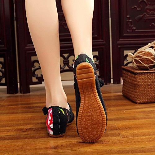 El Gamuza Estilo De Zapatos Bordado Mn Negro Aumento Zapatos Casual Mujeres Moda Cómodo En Tendón Suela Étnico xTp06pYqw
