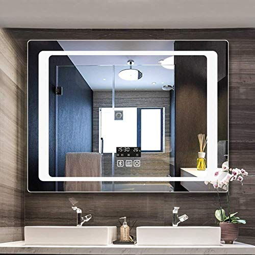 Wall-Mounted LED Bathroom Mirror with Bluetooth Speaker,Illuminated Vanity Mirror with Sensor Switch&Demister&Time - Bluetooth And Bathroom Mirrors Demister Led With