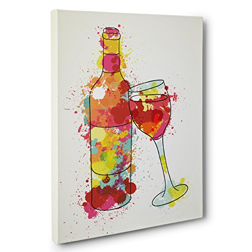 Painted Splatter Wine Bottle CANVAS Wall Art Home Décor
