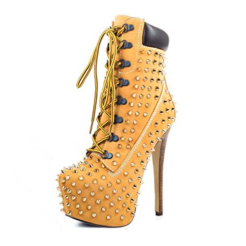 onlymaker Round Toe Shoespie Rivets Lace up Ankle Boots Apricot-US11