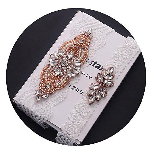 Yanstar Rose Gold Crystal Garter-Bridal Garter Set -White Lace Garter Set -Wedding Garters