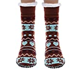 Kloud City Knitted Slipper Socks Snowflakes Cozy Soft Winter Non-Skid with Random Color Combination