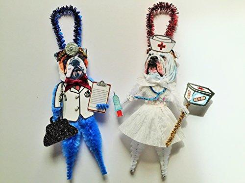Bulldog DOCTOR & NURSE ORNAMENTS Vintage Style Chenille Ornaments Set of 2