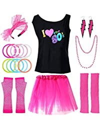 PAXCOO 80s Costumes for Women, 80s Accessories for Women with I Love The 80s T-Shirt Tutu Skirt Headband Necklace Bracelet Leg Warmers Earrings Fishnet Gloves for Party Accessory (S Size) Rose Red