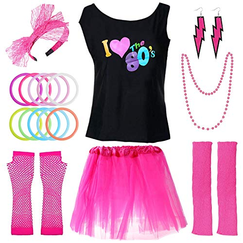 PAXCOO 80s Costumes for Women, 80s Accessories for Women with I Love The 80s T-Shirt Tutu Skirt Headband Necklace Bracelet Leg Warmers Earrings Fishnet Gloves for Party Accessory (XL Size) Rose Red]()