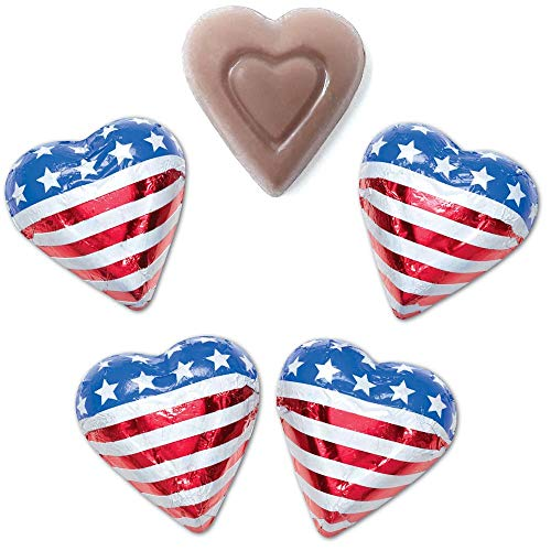 Madelaine Solid Premium Milk Chocolate Patriotic Red, White & Blue USA American Flag Mini Hearts (1 LB)