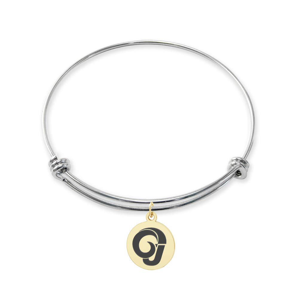 College Jewelry Angelo State Rams Stainless Steel Adjustable Bangle Bracelet with Yellow Gold Plated Round Charm
