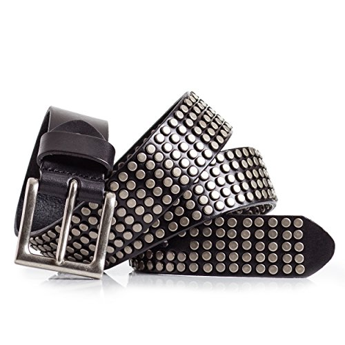 Super Cool Studded Leather Belt (36, Black) - Rockers Studded Belt