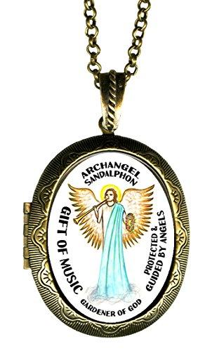 Archangel Sandalphon Gift of Music Gardener of God Xl Solid Perfume Locket Pendant Gold Bronze (Glass Arch Keepsake)