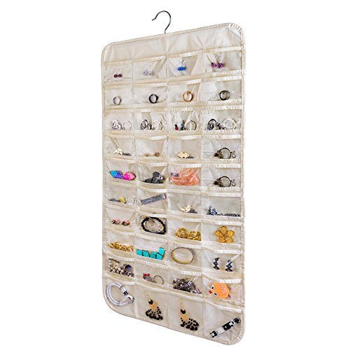 Hanging Jewelry Organizer,Accessories Organizer,Natural Canvas Ultra 80 Pocket Organizer For Holding Jewelries(Beige)