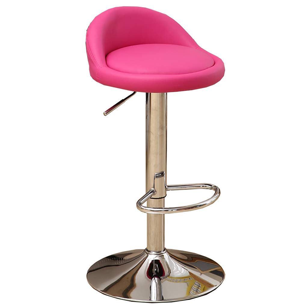 PU Leather Bar Stool Metal Swivel Chair Bar Stool pink Red Kitchen Stool Breakfast Bar Chair Backrest Adjustable 60-80cm