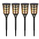 Solar Torch Lights [4PCS], Moko Waterproof Flame Lighting Lamps 96LED Outdoor Flickering Torches