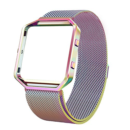 Fitbit Blaze Band with Frame, Andyou stainless steel Replacement Adjustable Band with Metal Frame for Fitbit Blaze Women Men,Colorful Small