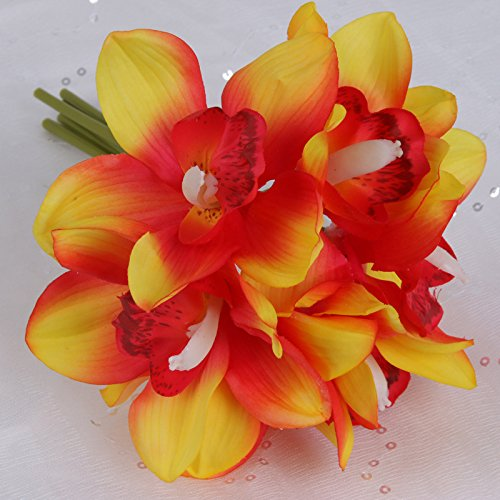 06 Pcs Orchid Artificial Flowers for Decoration Real Touch Cymbidium Artificial Silk Orchid Flower Arrangements Orchid Table Decoration Flower DIY Wedding Bride Hand Flowers Home Decor (Orange)