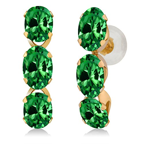 Gem Stone King 4.08 Ct Oval Green Simulated Emerald 14K Yellow Gold Earrings