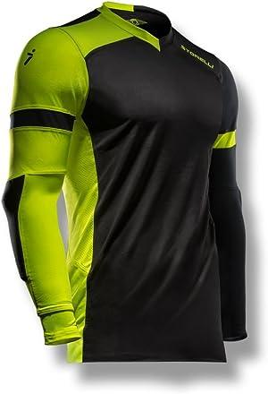 Storelli ExoShield Gladiator Goalkeeper Jersey | Padded Elbow Sleeves | Lightweight Soccer Jersey Shirt | Black | Small