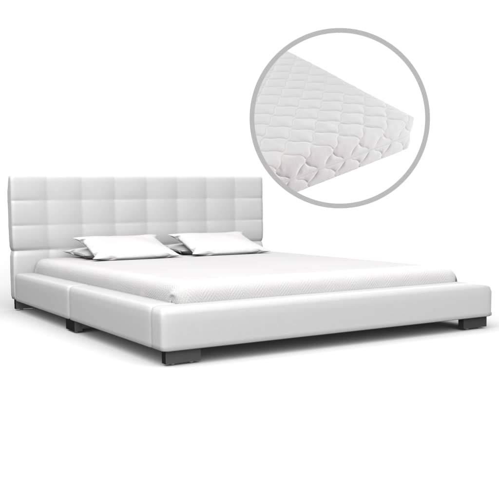 vidaXL Bett mit Matratze Klassisch Polsterbett Kunstlederbett Doppelbett Schlafzimmerbett Bettgestell Bettrahmen Lattenrost Weiß Kunstleder 140x200cm