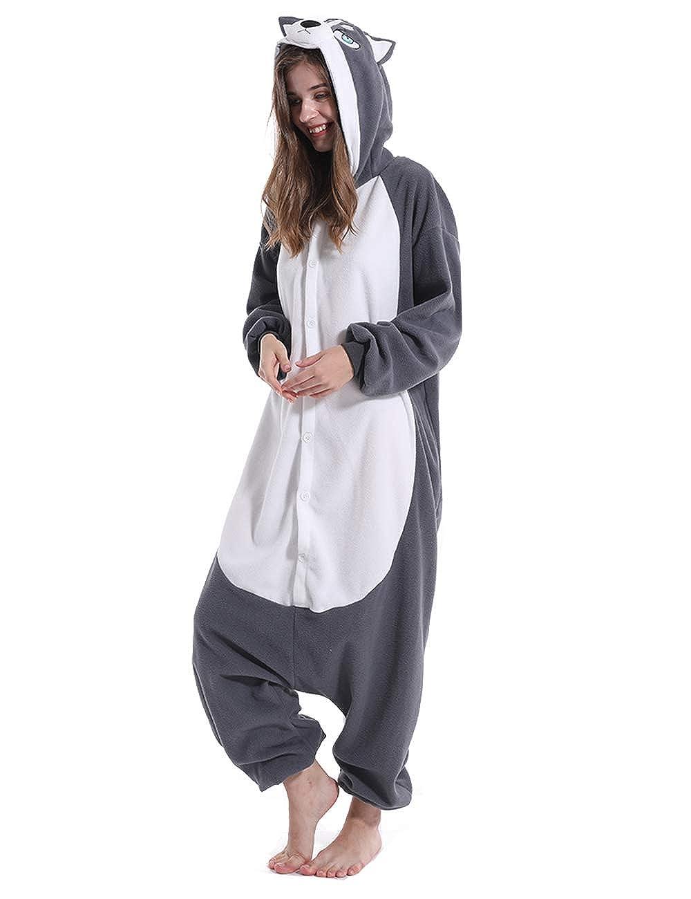 vavalad Adult Husky Dog Onesie Pajamas Cosplay Animal Homewear Sleepwear Jumpsuit Costume Women Men