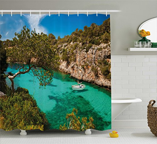Ambesonne Nature Shower Curtain, Small Yacht Floating in Sea Majorca Spain Rocky Hills Forest Trees Scenic View, Fabric Bathroom Decor Set with Hooks, 75 Inches Long, Green Aqua Blue by Ambesonne