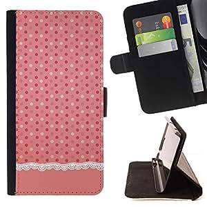 Momo Phone Case / Flip Funda de Cuero Case Cover - Modelo de punto rosa Tela de lino - Samsung Galaxy E5 E500