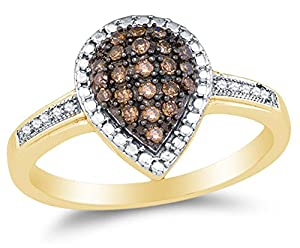 Size 7 - 10K Yellow Gold Chocolate Brown & White Round Diamond Halo Circle Engagement Ring - Prong Set Pear Center Setting Shape with Micro Pave Set Side Stones (1/5 cttw.)