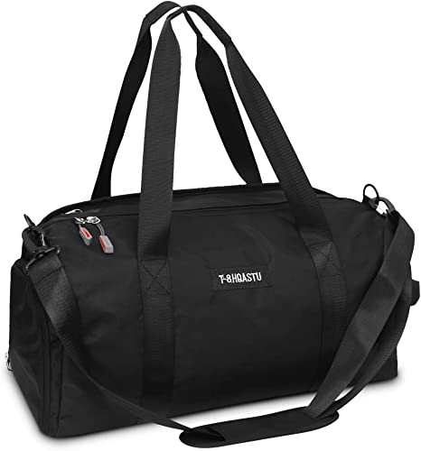 Sports Gym Bag with Wet Pocket Shoes Compartment Waterproof Swim Overnight Travel Duffel Bag for Women and Men 20-35L black