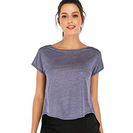 HZH Top de Yoga para Mujer, Camiseta Suelta de Verano con ...