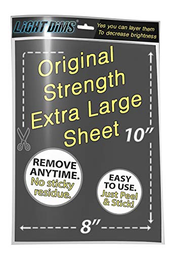 """LightDims Customizable Original Strength - Light Dimming Sheet for Alarm Clocks, Electronics and Appliances and more. Dims 50-80% of Light, 8""""x10"""" Extra Large Size in Retail Packaging"""