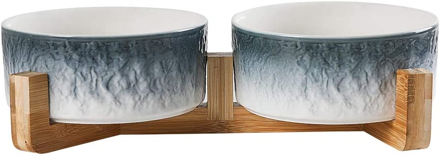 LIONWEI LIONWELI Blue Double Ceramic Cat Dog Bowl Dish with Wood Stand No Spill Pet Food Water Feeder for Big Cats and Small/Medium Dogs -Set of 2