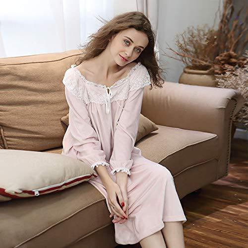 Mujer,camisón Franela Mujer Camisón pijamas De Otoño Señora Sexy A Para Vestido Ykduds invierno Cómodo La 8SE1HBqB
