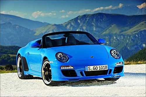 (Innerwallz Porsche 2011 911 (997) Carrera Speedster Light Blue Cabriolet Front Headlights Wall Art, Pop Art, Poster, Art Prints | Rare Posters)