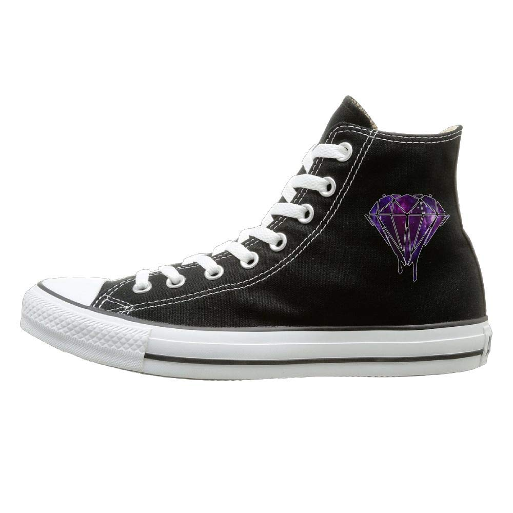Buecoutes Galaxy Diamond Canvas Shoes High Top Casual Black Sneakers Unisex Style