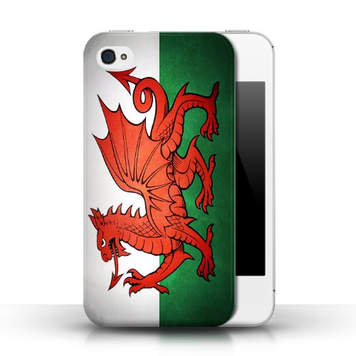 Etui / Coque pour Apple iPhone 4/4S / Pays de Galles/gallois conception / Collection de Drapeau