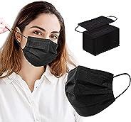 100pcs Black Disposable Face Masks 3Ply Black Face Mask Disposable Masks Breathable